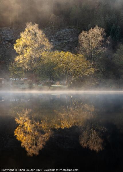 Misty Autumn at Loch Ard, Trossachs Framed Mounted Print by Chris Lauder