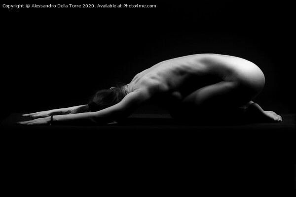 Nude woman bodyscape Framed Mounted Print by Alessandro Della Torre