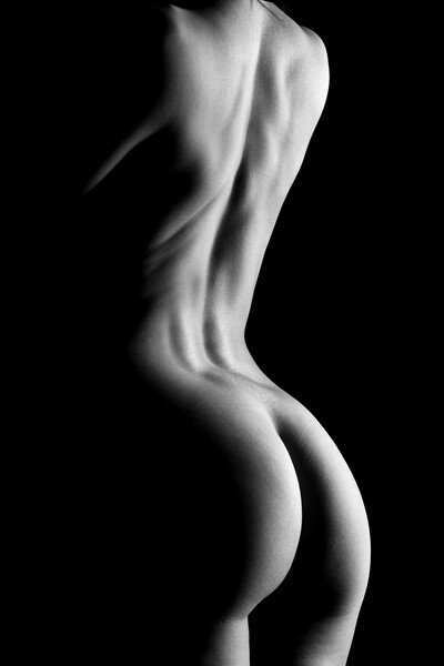 nude standing bodyscape of woman's ass and back Framed Mounted Print by Alessandro Della Torre