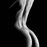 Buy canvas prints of nude standing bodyscape of woman's ass and back by Alessandro Della Torre