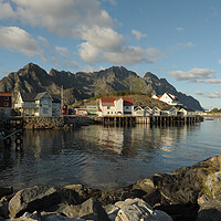 Buy canvas prints of Lofoten island in front of water with a mountain in the background by Alessandro Della Torre