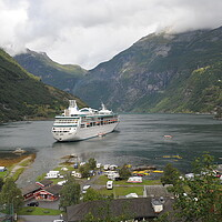 Buy canvas prints of travel Cruise boat stopped into Geirangerfjord, Norway,  in the background by Alessandro Della Torre