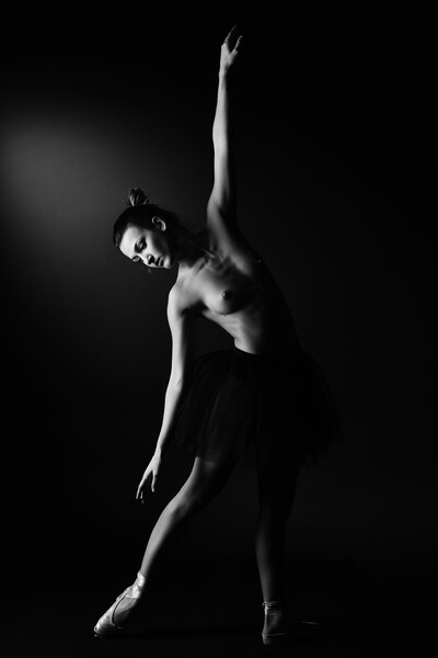 nude balllerina classic dancer doing classical dan Framed Mounted Print by Alessandro Della Torre
