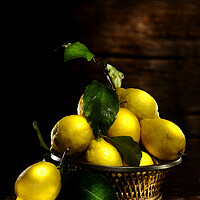 Buy canvas prints of lemons on wood table by Alessandro Della Torre
