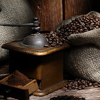 Buy canvas prints of Coffe grinder with beans by Alessandro Della Torre