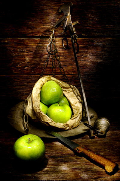 green apple on a weight meter Framed Mounted Print by Alessandro Della Torre