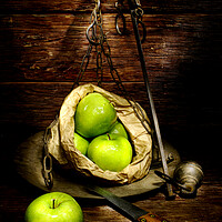 Buy canvas prints of green apple on a weight meter by Alessandro Della Torre