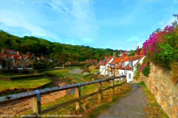 Sandsend, Whitby, hybrid paint/photo Framed Mounted Print by John Gibson