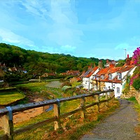 Buy canvas prints of Sandsend, Whitby, hybrid paint/photo by John Gibson