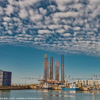 Buy canvas prints of Wind power rigs in Esbjerg harbor. Denmark by Frank Bach