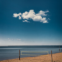 Buy canvas prints of Volley net Hjerting public beach promenade in Esbjerg, Denmark by Frank Bach