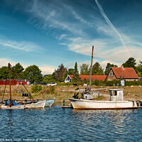 Buy canvas prints of Small Norsminde harbor with local fishing vessels, Denmark by Frank Bach