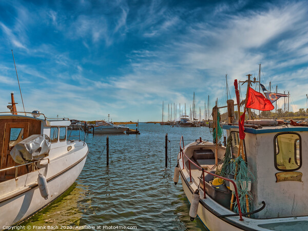 Small Norsminde harbor with local fishing vessels, Denmark Framed Print by Frank Bach