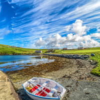 Buy canvas prints of Small fishing  boat beside a Shetland Voe by Richard Ashbee