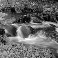 Buy canvas prints of Peak district waterfall at Padley Gorge in black & by Richard Ashbee