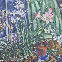 """Buy canvas prints of """"Narcissus, Amaryllis"""", Digital Image of an Oil Pa by Thomas Dans"""