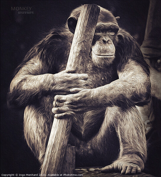 Monkey warrior Print by Ingo Menhard