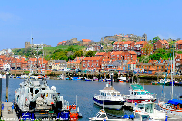 Whitby old town from  the quay on the river Esk in Yorkshire. Canvas Print by john hill