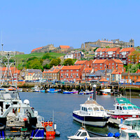 Buy canvas prints of Whitby old town from  the quay on the river Esk in Yorkshire. by john hill