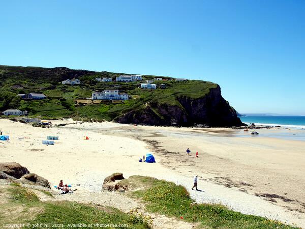 Porthtowan beach in Cornwall. Print by john hill
