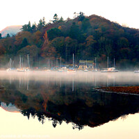 Buy canvas prints of Yachts in the mist at dawn. by john hill