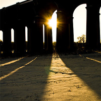 Buy canvas prints of Balcombe Viaduct in the Snow at sunset by Eddie Howland