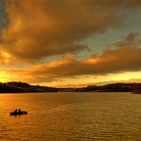 Buy canvas prints of Two Men in a Little Boat by Eddie Howland