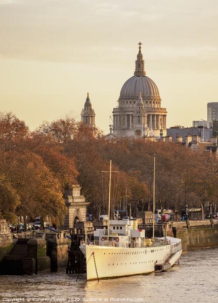 River Thames and St Pauls Cathedral at sunrise, London Acrylic by Karol Kozlowski