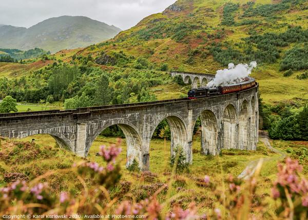 Jacobite Steam Train crossing the Glenfinnan Viaduct Framed Print by Karol Kozlowski