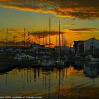 Buy canvas prints of Sunset over Carrickfergus harbour. by Cecil Owens