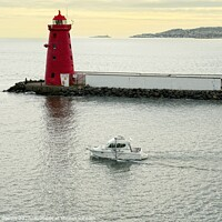Buy canvas prints of Dublin bay lighthouse by Cecil Owens