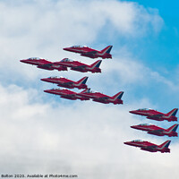 Buy canvas prints of The Red Arrows in formation at a display at Southend on Sea, Essex, UK. by Peter Bolton