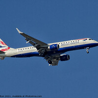 Buy canvas prints of The Embraer 170 - BA City Flyer over London City A by Peter Bolton