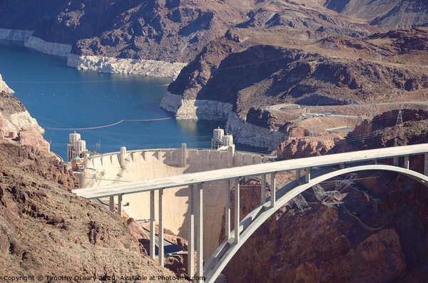 Aerial stock photo of Hoover Dam Framed Mounted Print by Timothy OLeary