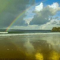Buy canvas prints of Rainbows over the Bay - Gower by Paddy Art