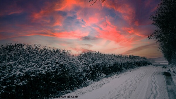 Wintery lane at sunset Framed Mounted Print by Paul Tyzack