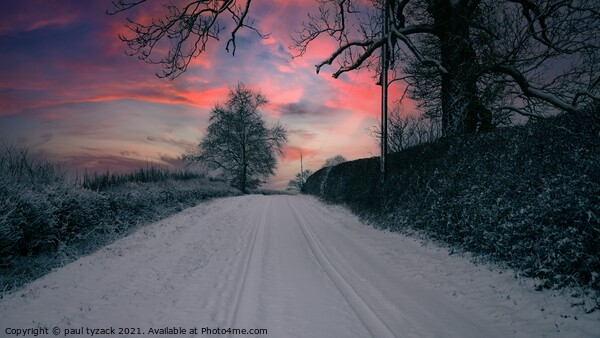 Snow covered lane at Sunset Framed Mounted Print by Paul Tyzack