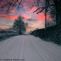 Buy canvas prints of Snow covered lane at Sunset by Paul Tyzack