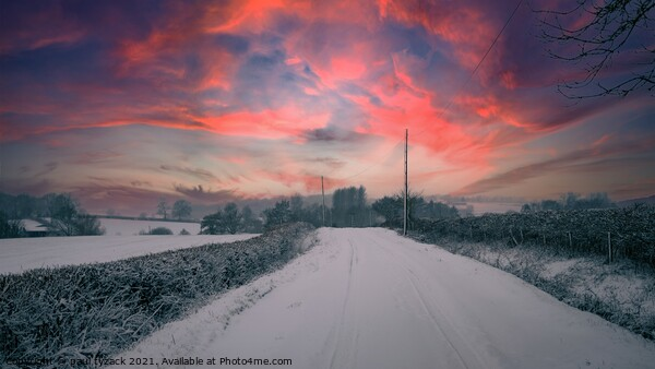 Winter sunset along the lanes Framed Mounted Print by Paul Tyzack