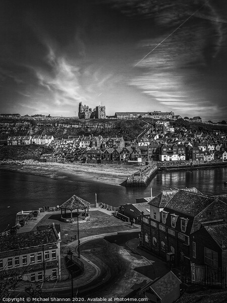Whitby fishing port in North Yorkshire, famous for its Gothic connections Print by Michael Shannon