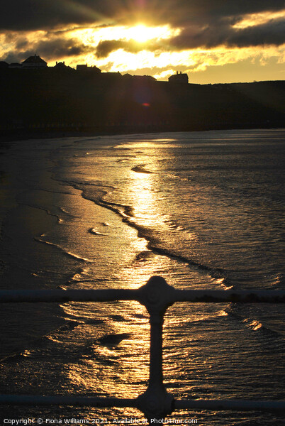 Sunset on Whitby Beach Print by Fiona Williams