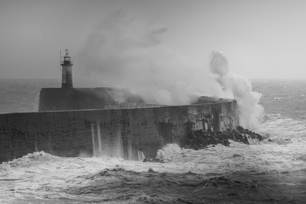 Storm breaks over Newhaven lighthouse  Canvas Print by Andy Dow