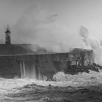 Buy canvas prints of Storm breaks over Newhaven lighthouse  by Andy Dow