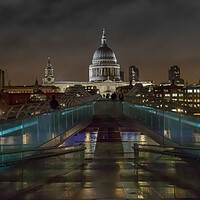Buy canvas prints of Saint Paul's Cathedral at night by Andy Dow