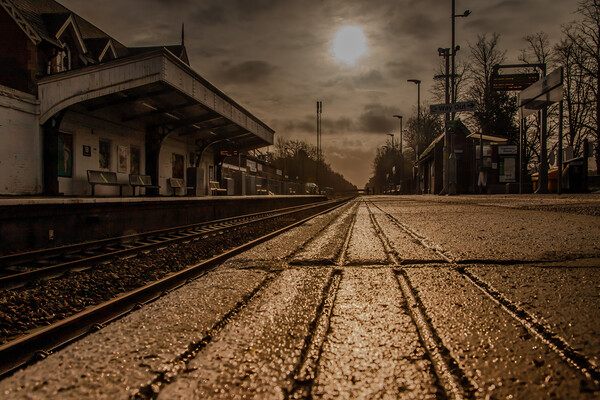 Morning sun over Crowthorne railway station Canvas Print by Andy Dow