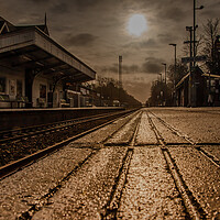 Buy canvas prints of Morning sun over Crowthorne railway station by Andy Dow