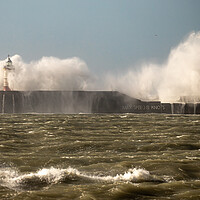 Buy canvas prints of Waves breaking over Newhaven wall by Andy Dow