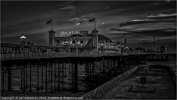 Brighton Pier at night Acrylic by Kev Robertson