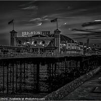 Buy canvas prints of Brighton Pier at night by Kev Robertson