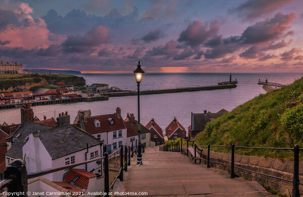 Whitby 199 Cliffs at Sunset Print by Janet Carmichael